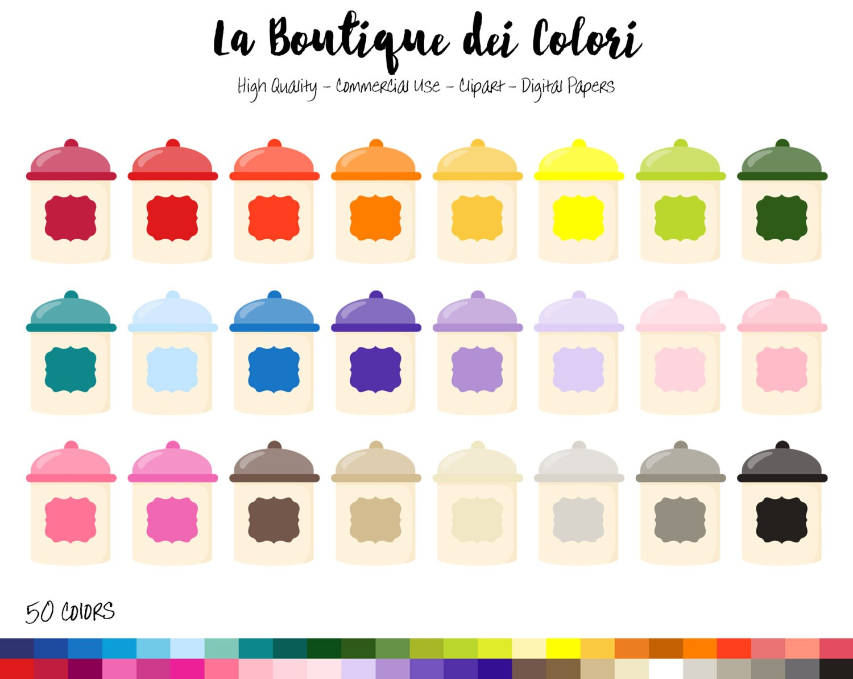 50 Rainbow Kitchen jar Clip art, Graphics PNG, colorful Cookie jars ...