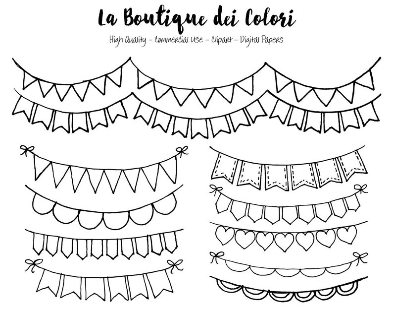 Hand Drawn Bunting Banners doodle Digital Clip Art. Party ...