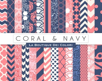 Coral and Navy Digital Paper. Digital peach and blue paper, wedding digital paper patterns, Instant Download for Commercial Use
