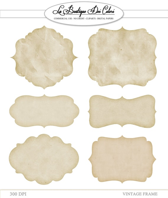 Clip Art Vintage Paper Frames Labels Tags Digital Frames Etsy