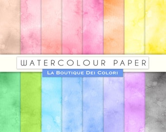 Seamless Watercolor Digital Paper Pack Printable Instant Download Personal and Commercial Use Red Green Pink Blue Yellow Natural