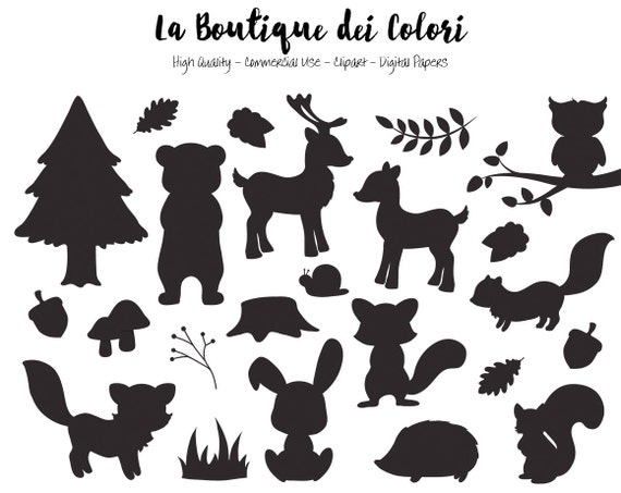 Woodland Animals Silhouette Clipart Cute Graphics EPS and ...