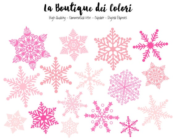 pink snowflake clipart cute graphics png christmas snow etsy