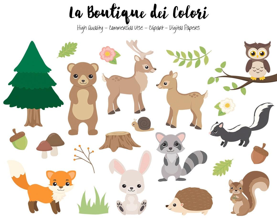 Woodland animaux clipart mignon digital graphics png renard etsy - Clipart renard ...