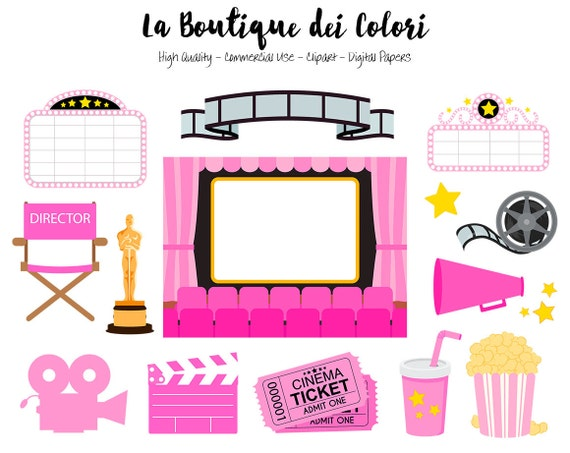 Pink Movie Theater Clip Art Cute Vector Graphics Png Film Etsy
