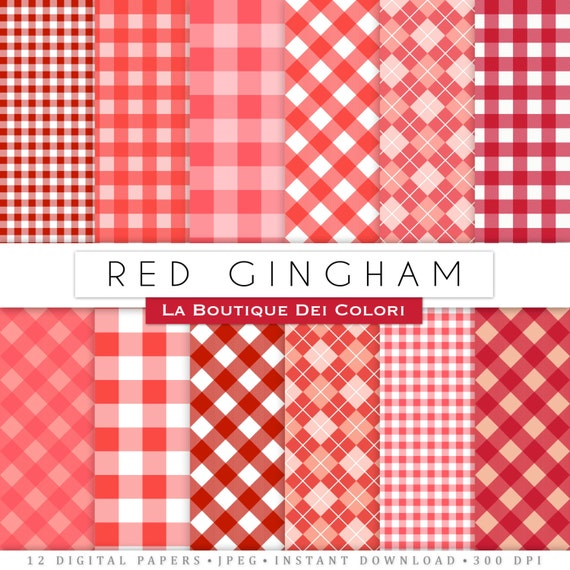 Red Gingham Table Cloth Digital Paper. Instant Download For | Etsy