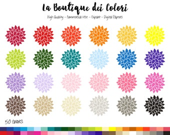 Clip Art Dahlia flower, floral spring Digital illustraions in 50 rainbow colors. Petals, flowers PNG, clipart, image Commercial Use