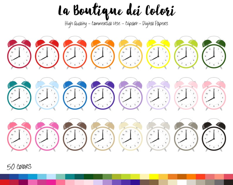 50 Rainbow Alarm Clock Clip art, Cute Digital Graphics PNG, Wake up,  morning, reminder clocks Clip art, Planner Stickers Commercial Use