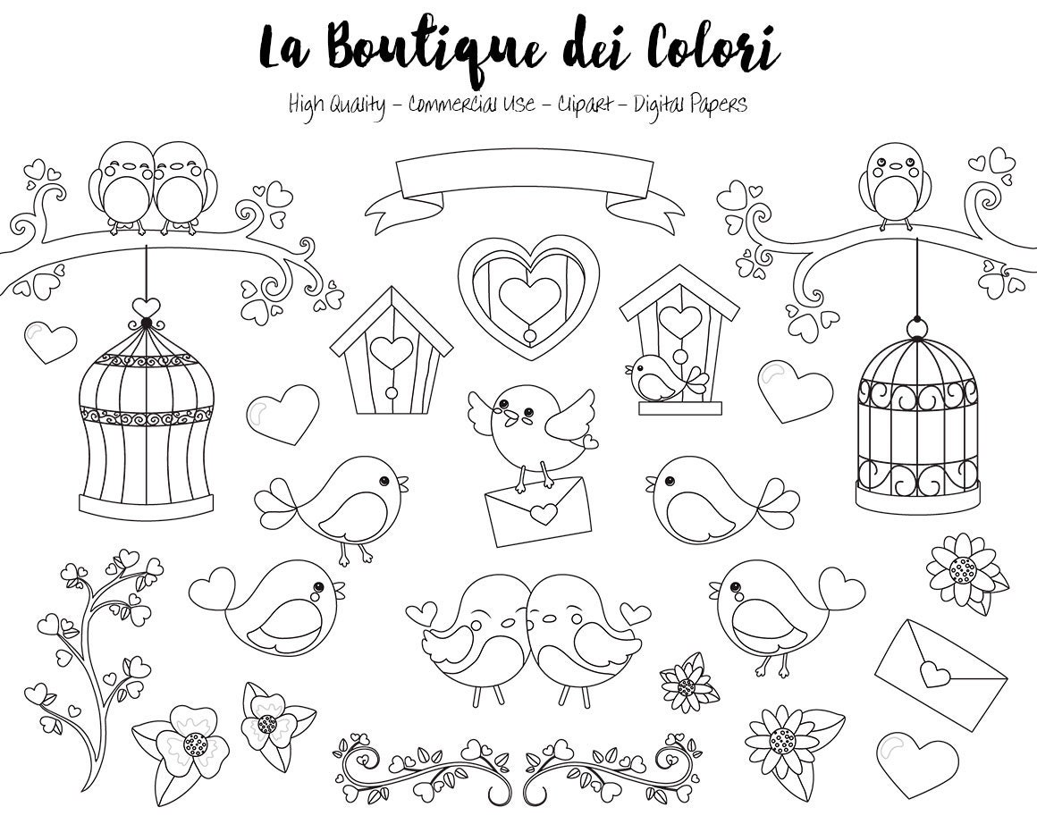 valentine's day birds digital stamps clipart cute png | etsy