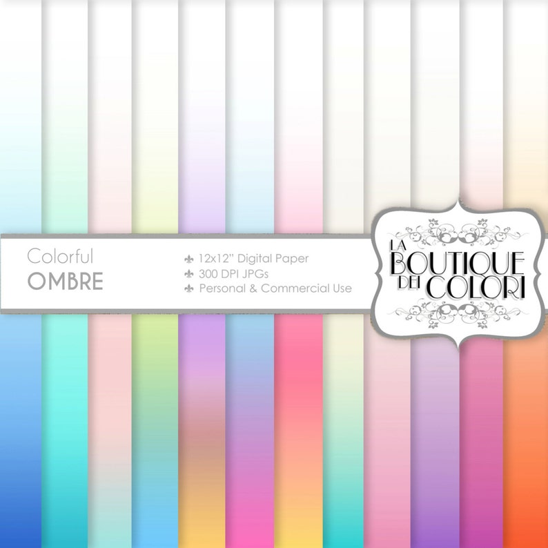 Pastel Ombre Digital Paper Gradient Digital Papers Soft Etsy