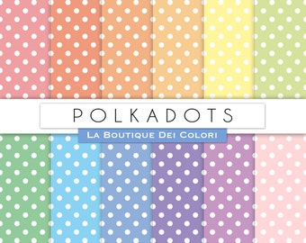 Polkadots digital paper, Pastel Polkadots digital papers. Polkadots patterns pastel vintage backgrounds Download Commercial Use