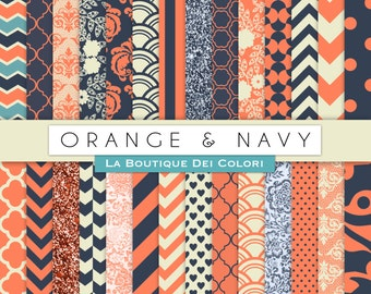 Orange and Navy Digital Paper. Digital orange and blue paper, wedding digital paper patterns, Instant Download for Commercial Use