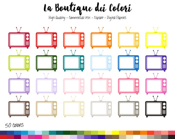 Tv retro Digital Graphics set for Planner Stickers Scrapbooking Paperclips Collection TV Shows Kawaii Clipart Commercial use ok