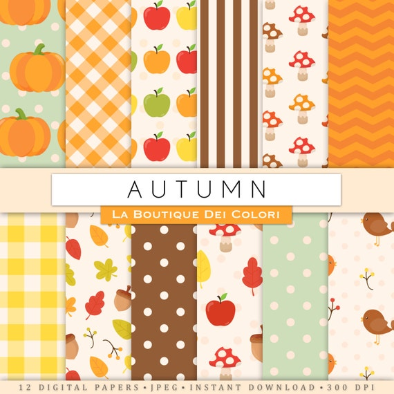 Fall Digital Paper Cute Digital Paper Pack Of Autumn Backgrounds Fallen Leaves Pumpkins Apples Patterns For Commercial Use Clipart