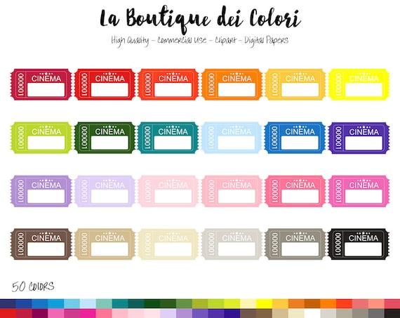 50 Regenbogen Film Ticket Clipart niedliche digitale Grafiken | Etsy