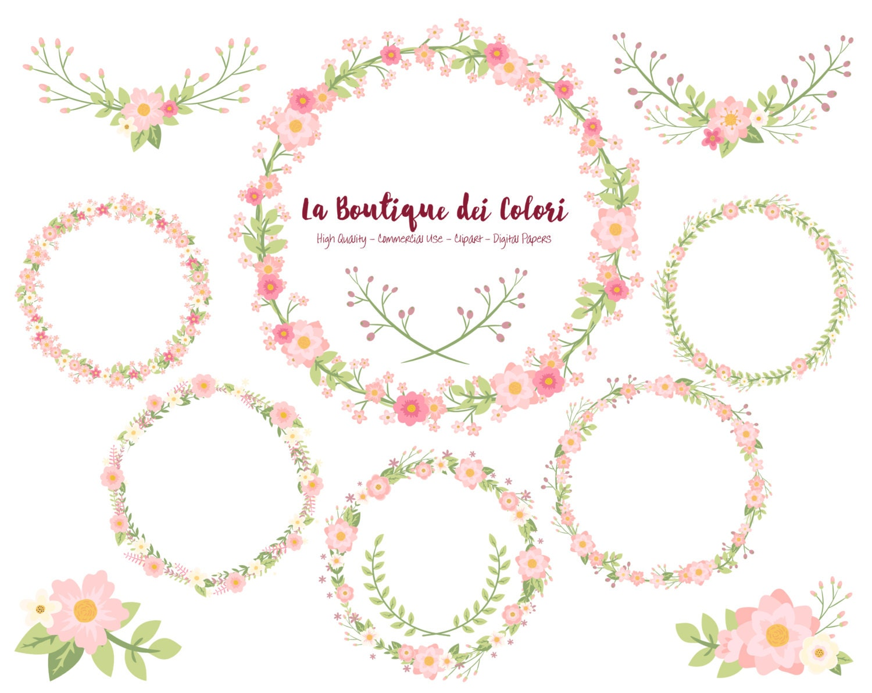 Pink Flower Wreath Clipart Cute Scrapbook Png Laurel Wedding Etsy