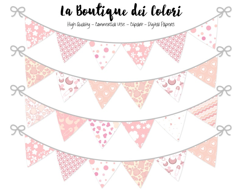 9a314ee730d4 Baby Girl Bunting Banners Party Flags clipart Cute pennant