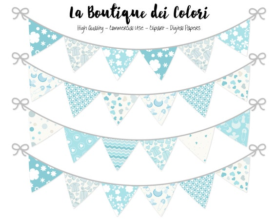 Baby Boy Bunting Banners Party Flags Clipart Cute Blue Etsy