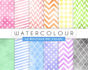 Seamless Watercolor Digital Paper Pack Chevron Watercolor patterns Printable Instant Download Personal and Commercial Use
