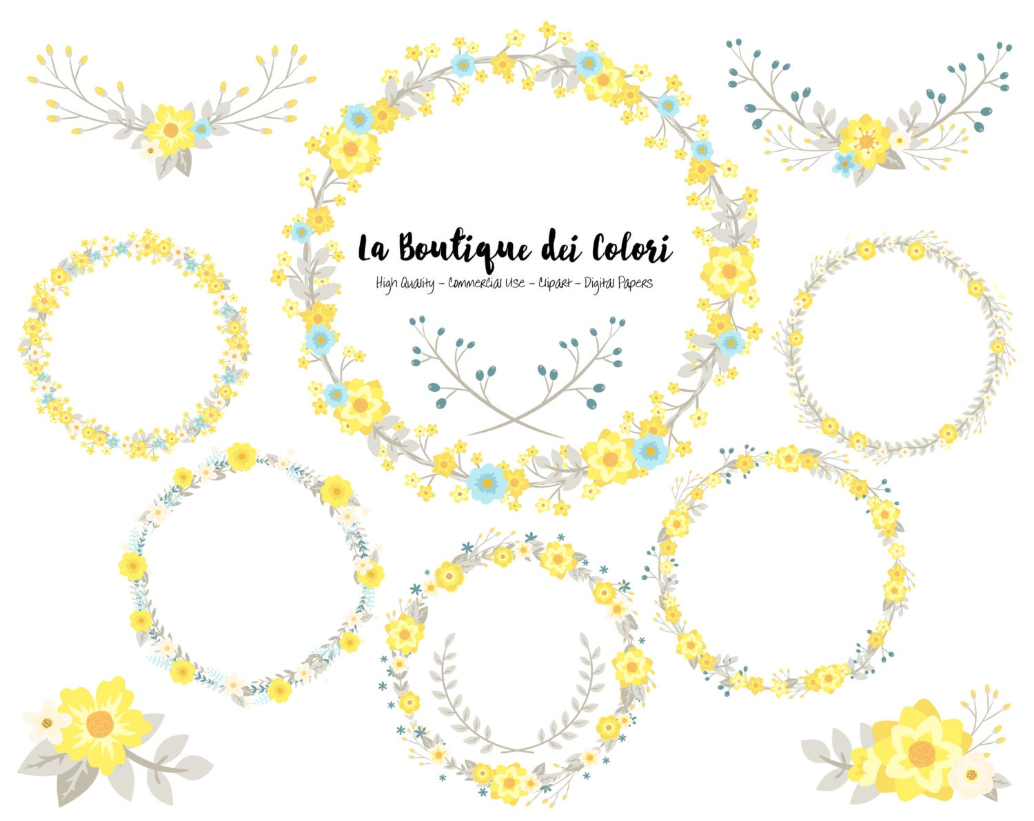 Yellow Blue And Grey Flower Wreath Clipart Cute Graphics Etsy