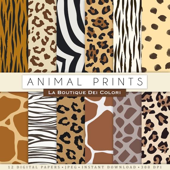Animal prints digital paper. Safari Scrapbook paper pack. tiger skin ... 292ba4357