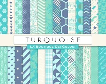 Turquoise Digital Paper Digital Scrapbook Light blue paper patterns, Instant Download for Commercial Use