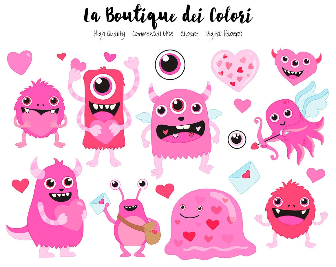 Pink Valentine's Day Monsters Clipart, Cute Digital Graphics PNG and Vector  EPS, Fun Love Clip art, Cupid Hearts, Love letter Clip Art