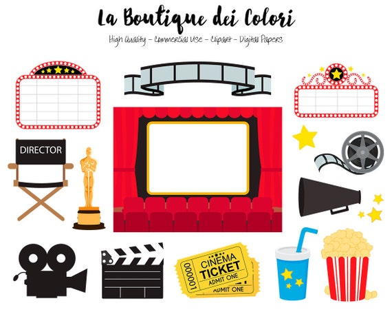 Movie Theater Clip Art Cute Vector Graphics Png Film Etsy