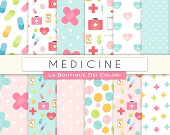 Medicine digital paper. Cute digital paper pack Health, doctor, nurse, rx, hospital, pills backgrounds patterns for commercial use clipart