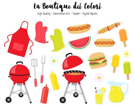 bbq clipart cute digital illustrations png summer barbeque etsy