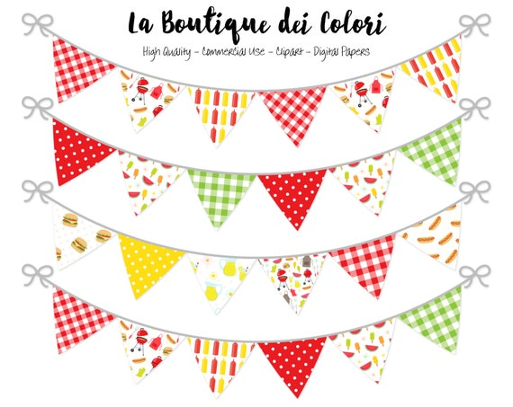 Barbecue Bunting Banners Party Flags Clipart Garland