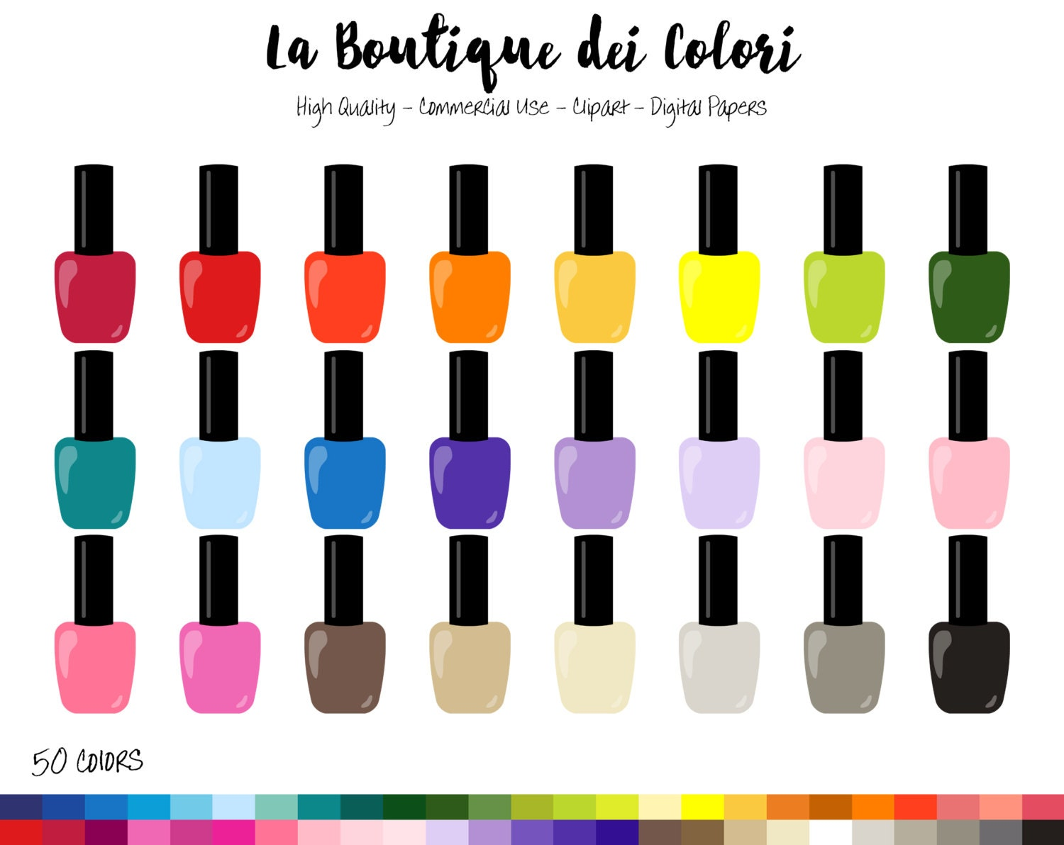 50 rainbow nailpolish clipart nail polish digital etsy rh etsy com manicure clipart black and white manicure clipart png