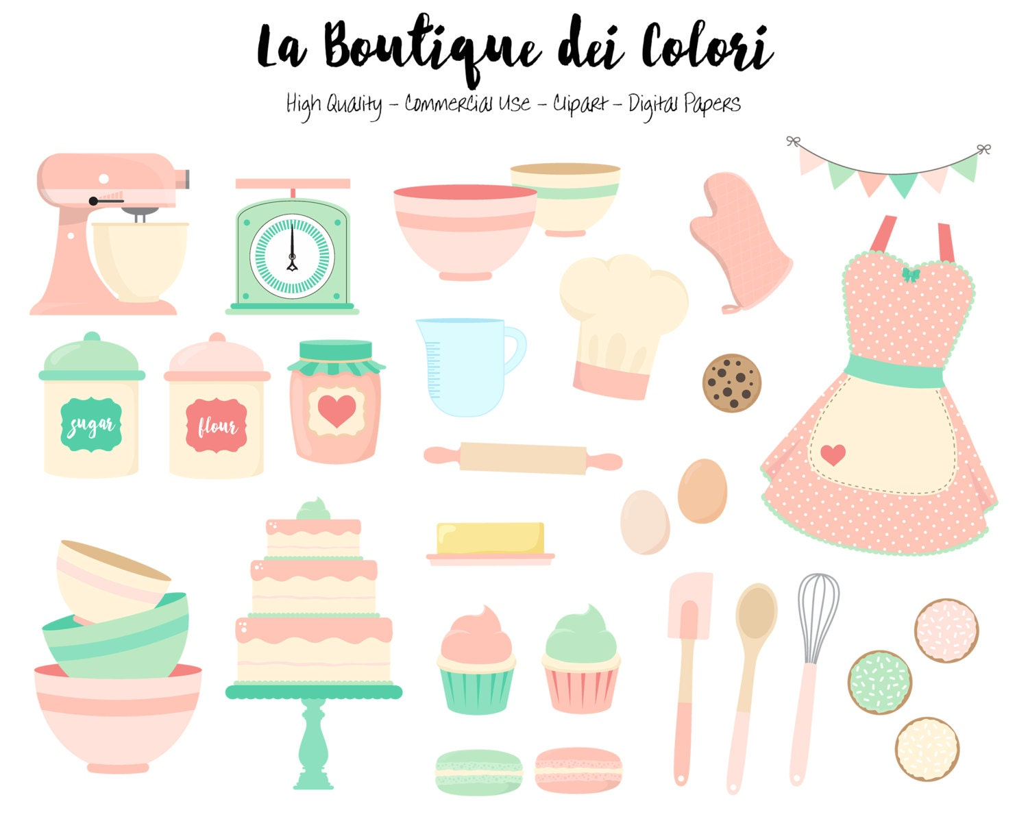Pink and Mint Baking Clipart Cute Digital Graphics PNG