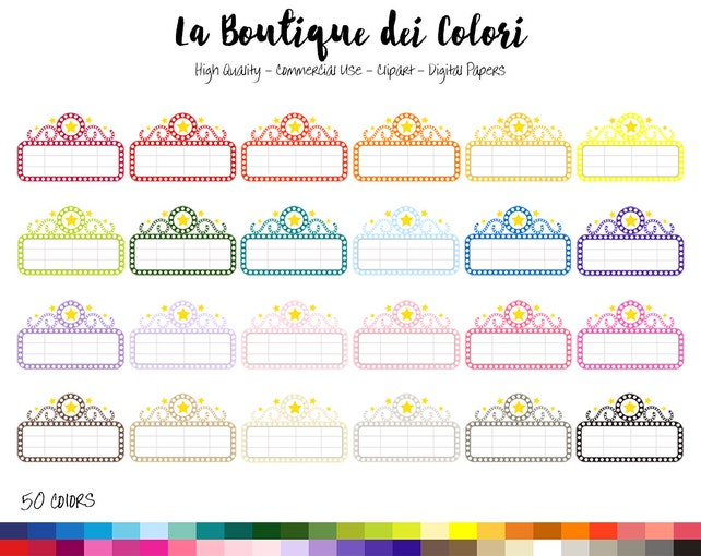 50 Rainbow Movie Marquee Clipart Cute Digital Graphics PNG