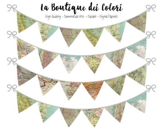 World Maps Bunting Banners Party Flags clipart, garland, Explorer ...
