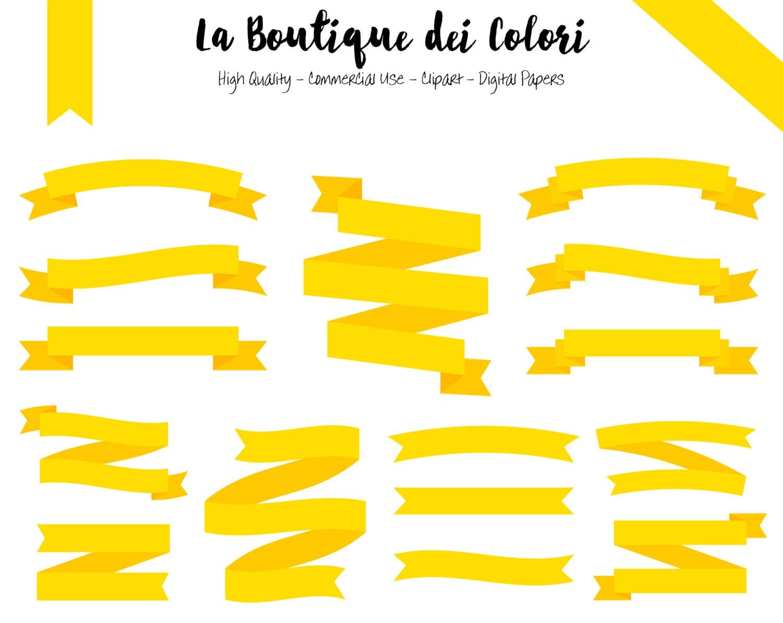 Yellow Ribbon Banners Clip Art. Ribbon Banner Clipart Tag | Etsy