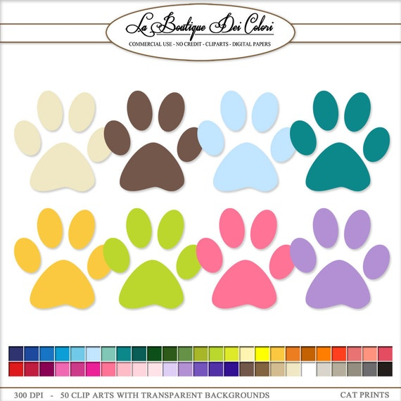 50 Rainbow Colors Paw Print Cliparts Pet Clip Art Dog Cat Paws Print Scrapbook Illustration Printable Commercial Use Png By La Boutique Dei Colori Catch My Party Please remember to share it with your friends if you like. 50 rainbow colors paw print cliparts