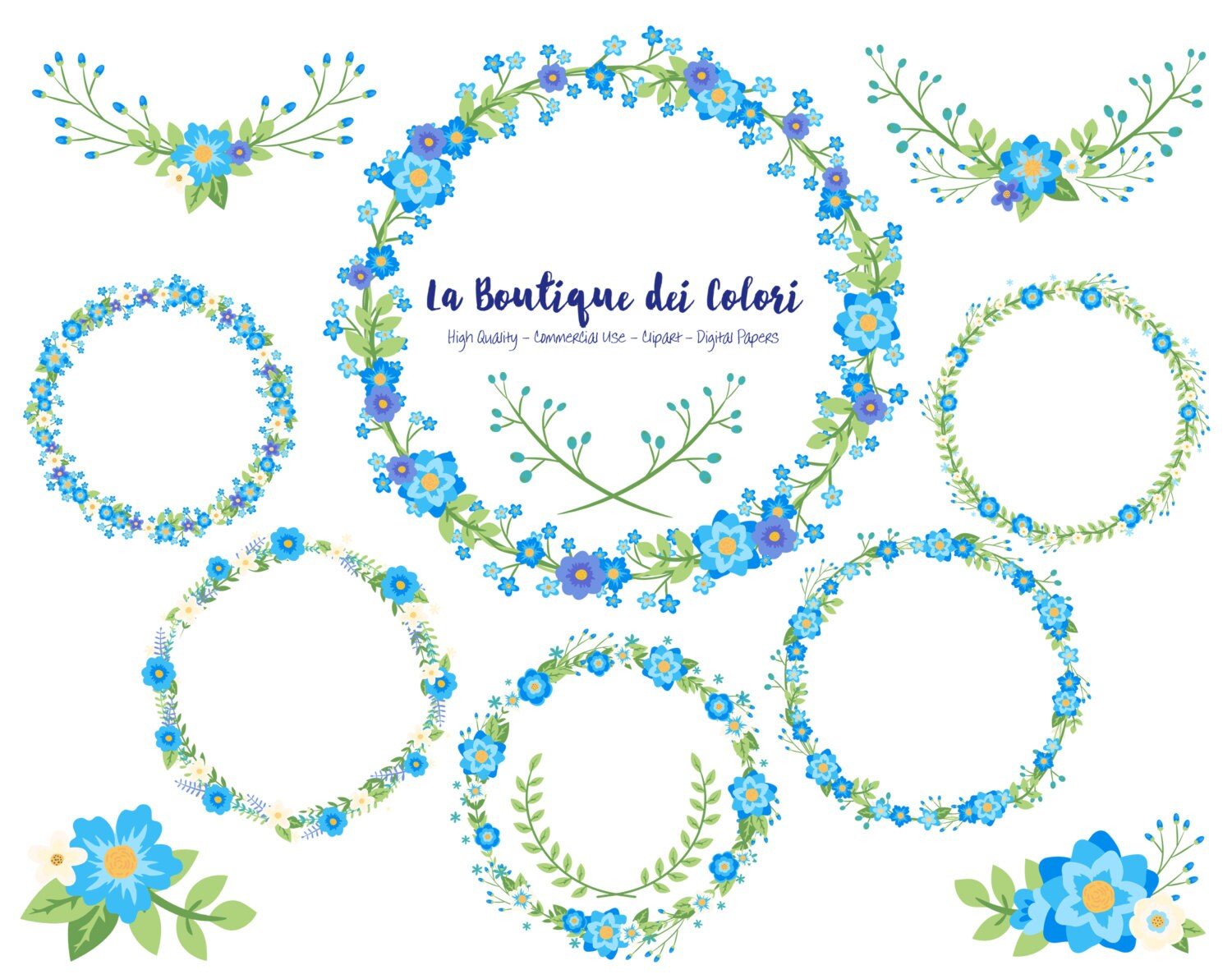 Blue flower wreath clipart cute graphics png laurel wedding etsy 50 izmirmasajfo