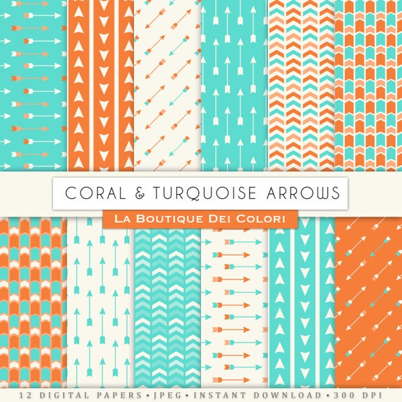 Coral and turquoise Arrows digital paper Aztec Tribal patterns