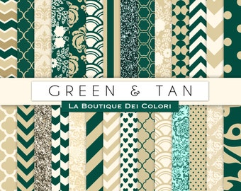 Green and tan Digital Paper. Digital cream and green paper, Scrapboo paper patterns, Instant Download for Commercial Use