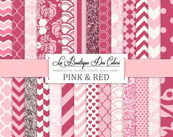 Cute pink  digital paper. Pink digital paper pack of pink backgrounds patterns for commercial use clipart