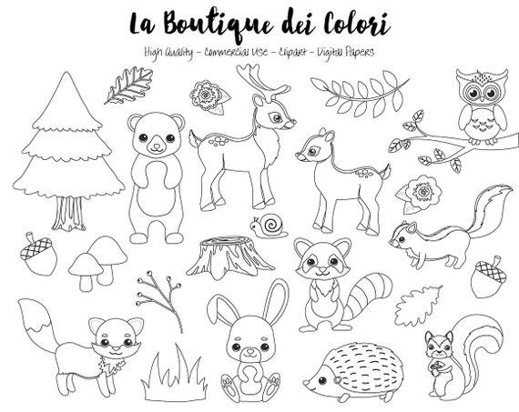 Clipart de sellos Digital woodland animales lindo digitales | Etsy