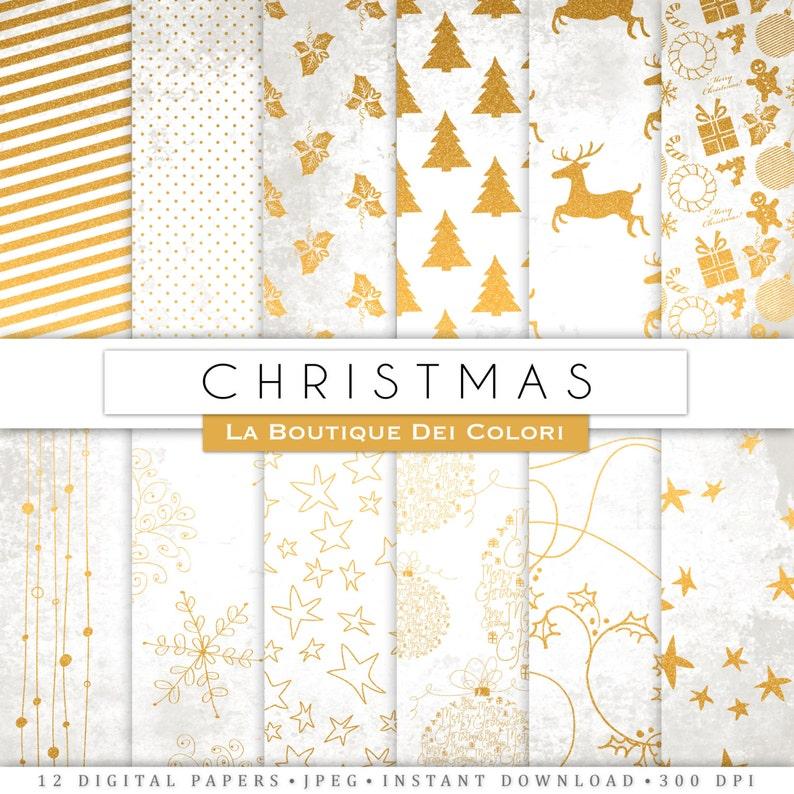 Bianco E Oro Natale Carta Digitale Fondo Oro Albero Di Etsy