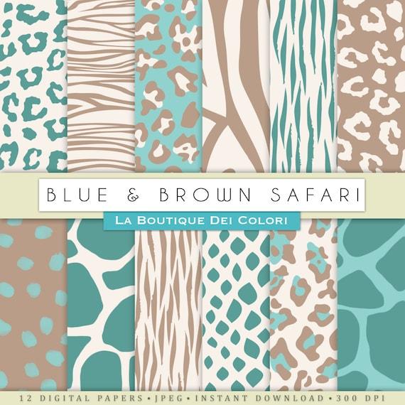 Blue And Brown Animal Prints Digital Paper Safari Scrapbook Etsy