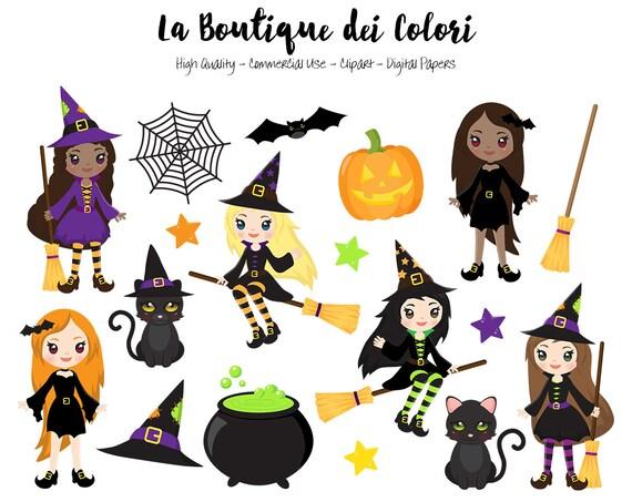 Halloween Hexen Clipart Niedliche Digitale Illustrationen Etsy