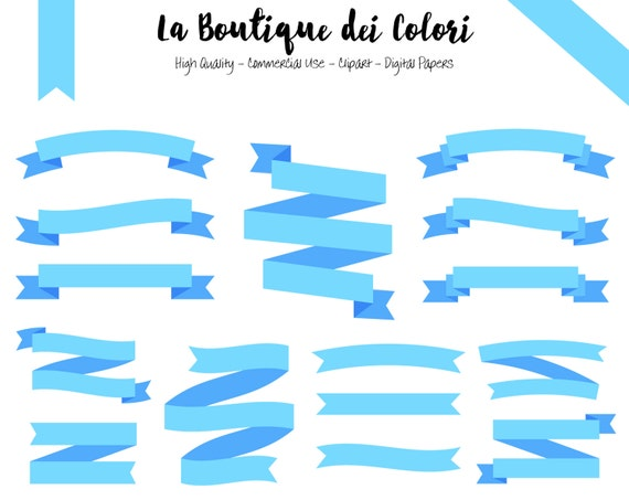 Light Blue Ribbon Banners Cliparts Tags Digital Clip Art Baby Etsy