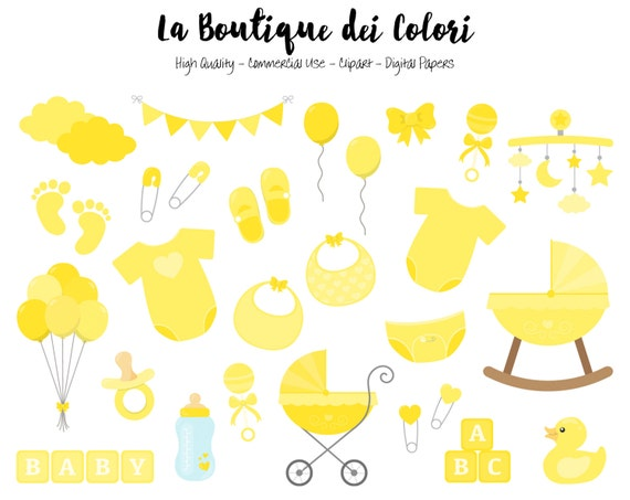 Yellow Baby Shower Clipart Cute Graphics Png Scrapbook Etsy