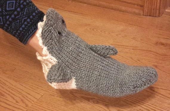 Hand Knit Gray Shark Socks Etsy
