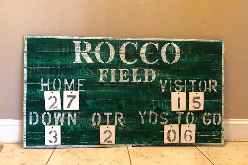 Customized Rustic Football vintage sports scoreboard