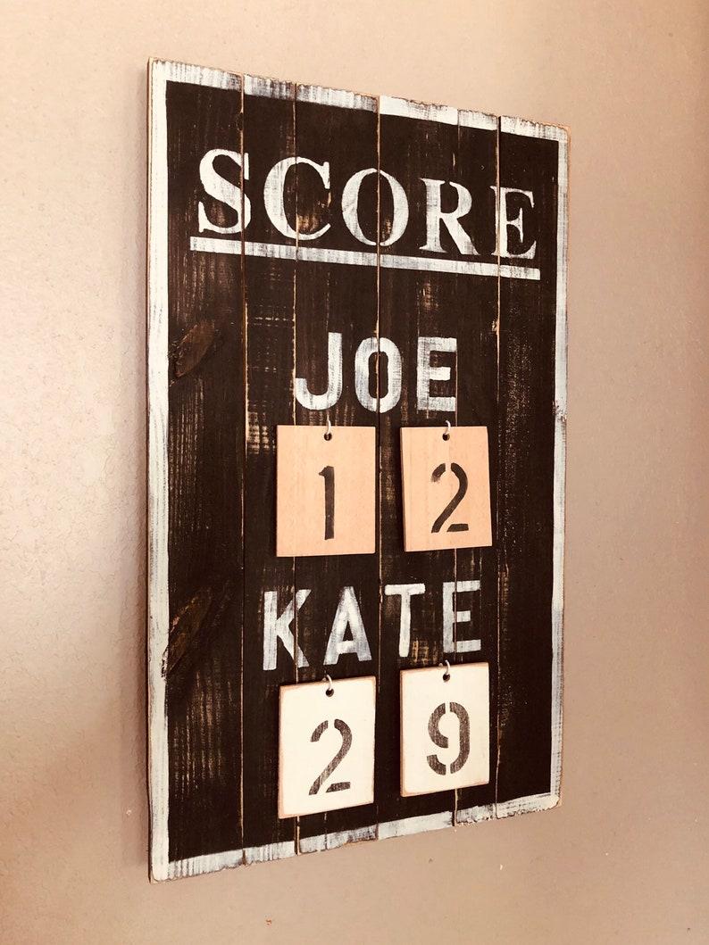Rustic SCORE sports vintage scoreboard baseball football soccer hockey